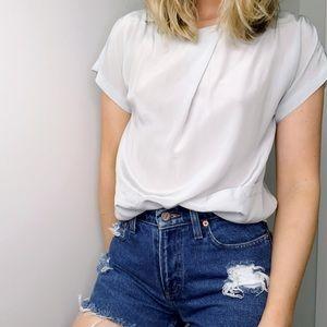 LAST CHANCE silk blue short sleeve blouse 36 K15